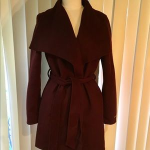 Tahari Plum  wool blend wrap coat jacket L